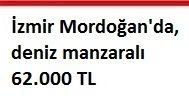 İzmir Mordoğan'da, deniz manzaralı 62.000 TL
