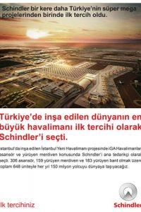 Schindler bir kere daha Türkiye'nin süper mega projesinden birinde ilk tercih oldu