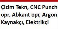 Çizim teknisyeni, cnc punch operatörü, abkant operatörü, argon kaynakçı, elektrikçi aranıyor.