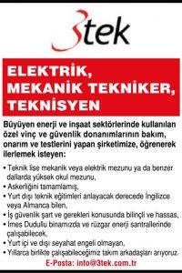 Elektrik, mekanik teknikeri, teknisyeni aranıyor