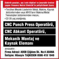 cnc punch press operatörü iş ilanları, cnc punch press operatörü aranıyor, cnc punch press operatörü arayan, cnc punch press operatörü ilanları, cnc abkant operatörü iş ilanları, cnc abkant operatörü aranıyor, cnc abkant operatörü arayan, cnc abkant operatörü ilanları, mekanik montaj elemanı iş ilanları, mekanik montaj elemanı aranıyor, mekanik montaj elemanı arayan, mekanik montaj elemanı ilanları, kaynakçı iş ilanları, kaynakçı aranıyor, kaynakçı arayan, kaynakçı ilanları,