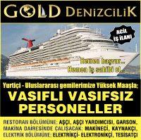 Yolcu ve ticari gemilerin; Restaurant kısmında USD bazında yüksek gelir+ kariyer+ tüm sosyal haklarla, Bay personeller aranıyor.